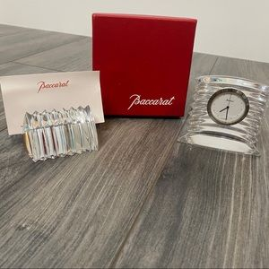 Baccarat Lalande Desk Clock and Card Holder set